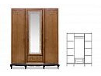 Шкаф для одежды трёхдверный «Соната» с зеркалом (декор) ММ-283-01/03