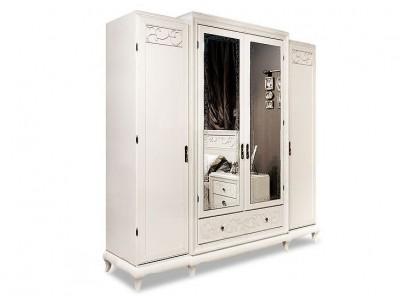 Шкаф для одежды четырёхдверный «Соната» с зеркалом (декор) ММ-283-01/04