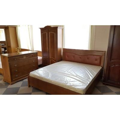 Кровать двуспальная «Лика» с кожаным изголовьем ММ-137-02/14Б