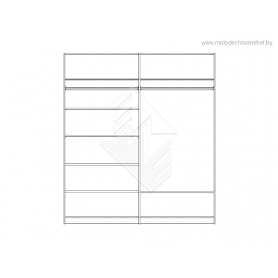 Шкаф четырехстворчатый для одежды Лорена ММ-346-01/04Б